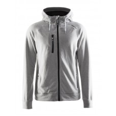 Fleece Hood men grey melange